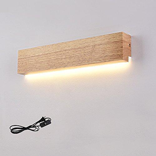 Moderner Minimalist 8W LED Wandleuchte, Gelb-Licht Mehrzweckmassivholz Regal-Wand Lampen Schlafzimmer-Nacht Wohnzimmer Kreative Wandhalterung Licht-Leuchter Befestigung (mit/Ohne Draht-Stecker) W:40CM
