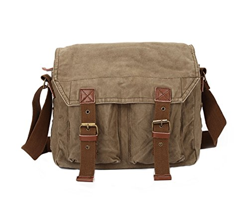 MiCoolker Classic Messenger Bag Canvas Crossbody Shoulder Bag Men's Shoulder Travel Bag Business Bag for Laptop Brown