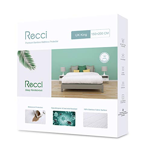 RECCI Waterproof Mattress Protector-King Size Mattress Protector,100% Bamboo Fabric Surface Mattress Cover,Premium Bamboo Mattress Protector,Anti Allergy, Bed Bug Proof 【UK King Size - 150 x 200 cm】