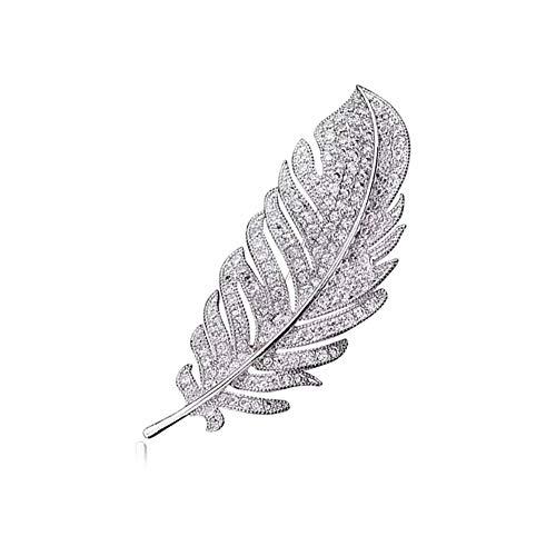Feder Retro Brosche Elegant Zirconia Brosche Kleid Dekoration Feder Brosche Feder edel Fashion Party Brosche für Frau Mädchen