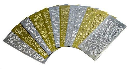 Doodey Abziehaufkleber, Geburtstagsmotive, zur Kartengestaltung und Scrapbooking, 6Designs, Goldfarben/Silberfarben, 12Stück