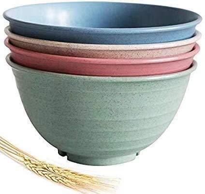 FULAISI große Müslischalen - 30 Unzen (7 Zoll) Weizenstrohfaser leichte abbaubare Schüssel-Sets 4 - spülmaschinen- und mikrowellenfest - umweltfreundlich - für Müsli, Salat, Suppe, Nudel