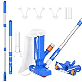 ARLBA Small Pool Leaf Vacuum Head Cleaning kit w/Thickened Telescopic Pole,Brush & Bag,Portable Pool Mini Jet Underwater Vacuum Cleaner for Above Ground Pool Spas Hot Tub Ponds & Fountains -Upgraded