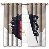 Trelemek Godzilla Cortinas opacas con ojales para cortinas opacas con 2 paneles de tratamiento de ventanas para dormitorio, sala de estudio de 100 x 172 cm