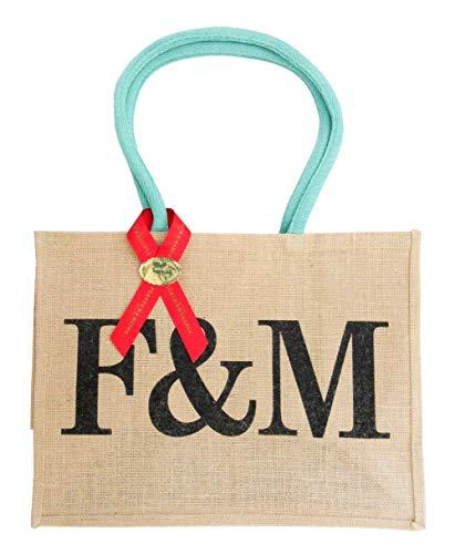 Fortnum & Mason [フォートナム & メイソン] F&M ロゴ ジュート トート エコバッグ ラージ リボンラッピング [並行輸入品]