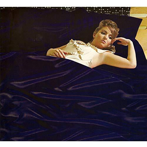 Sans Couture Bleu Marine en Satin Super King Housse de couette, drap-housse et 4 P/Etui