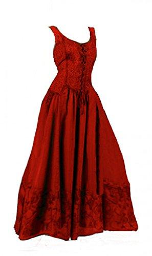 Dark Dreams Kleid Mittelalter Gothic Schnürung Audry schwarz rot grün braun weiß 36 38 40 42 44 46, Farbe:rot, Größe:XXL