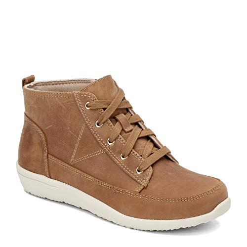Vionic Women's Magnolia Shawna High Top Sneakers - Ladies Chukka Walking Shoes with Concealed Orthotic Arch Support Wheat 9 Medium US