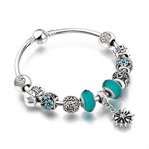 Pulsera De Cuentas De Cristal Diamante Amor Diy Cadena Abalorios Pulsera De Moda De Cristal Azul Pulsera De Moda