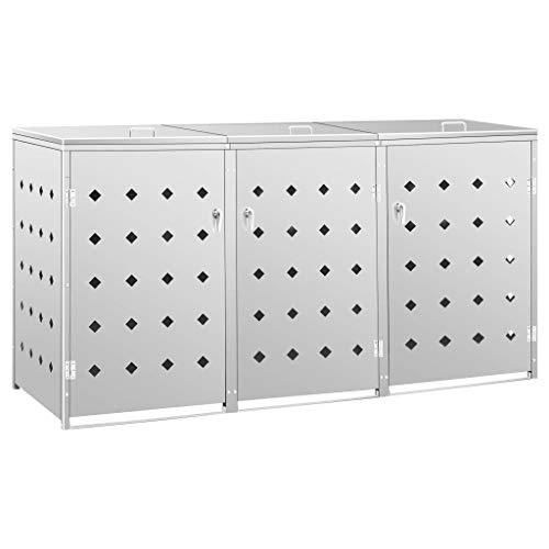 vidaXL Mülltonnenbox für 3 Tonnen Müllbox Mülltonnenverkleidung Mülltonne Mülltonnenbox Müllcontainer Gerätebox 240L Edelstahl Silbern