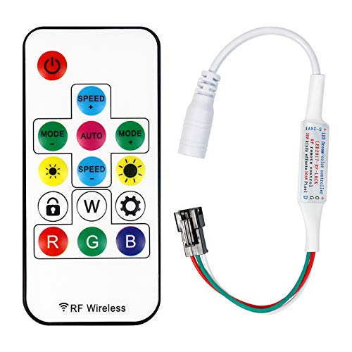 Suitable for WS2812B WS2811 14-Key Remote Wireless Mini Controller RF DC5V~24V and More Than 300 Kinds of Change Digital Color LED Light Pixel bar Module