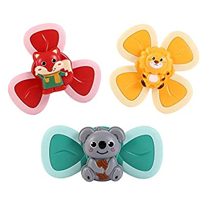 GOHEYI 3PCS Suction Cup Spinning Top Toy,Spin Sucker Baby Bath Toys,Cartoon Animal Dining Chairs Spinning Tops,Early Learner Toys for Baby Girls Boys,Spin Toy for Toddlers