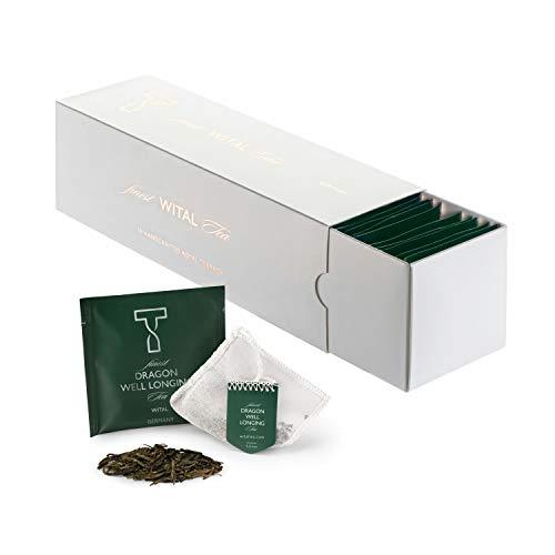 WITAL TEE - DRAGON WELL LONGING - Grüner tee - Ganze Blätter - 50 Plastikfreie Handgenähte Teebeutel aus reiner Baumwolle