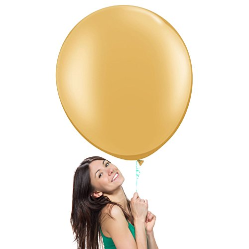 Metallic Gold/Copper Gold 36 Inch (3 ft) Giant Jumbo Latex Balloons (Premium Helium Quality), Pack of 3, Regular Shape for Photo Shoot/Birthday/Wedding Party/Festival/Event/Carnival