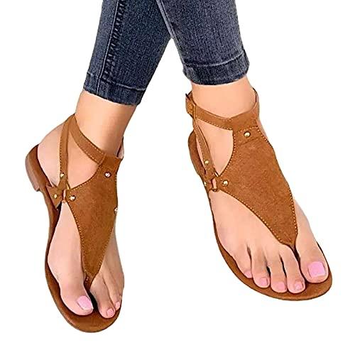 Women S Plus Size Flat Shoes Ladies Summer Sandals Retro Casual Solid Color Shoes Roman Shoes Buckle Breathable Sandals