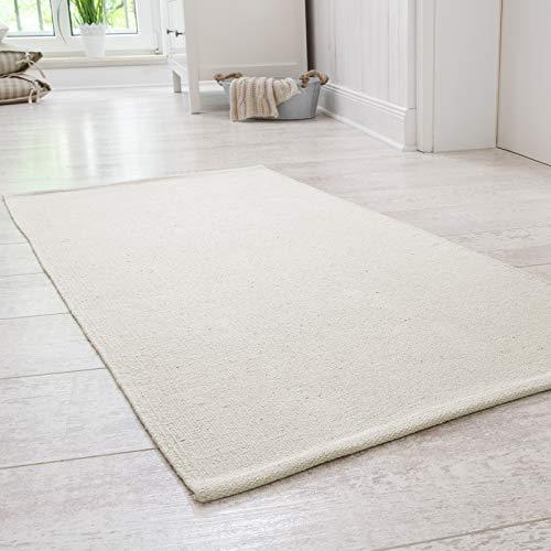 Andiamo - Tappeto Milo fatto a mano, in 100% cotone, facile da pulire e lavabile, tinta unita, cotone, crema, 60x120cm