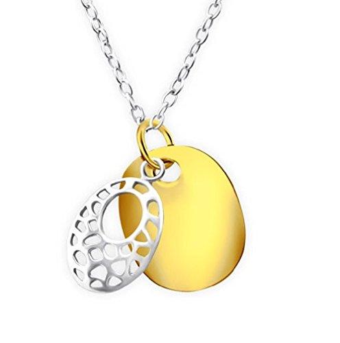 Motif Collier ovale – Argent Sterling 925–45 cm/45 cm – Pendentif plaqué or et argent – Coffret cadeau inclus – La Rose & Silver Company – Rs0425