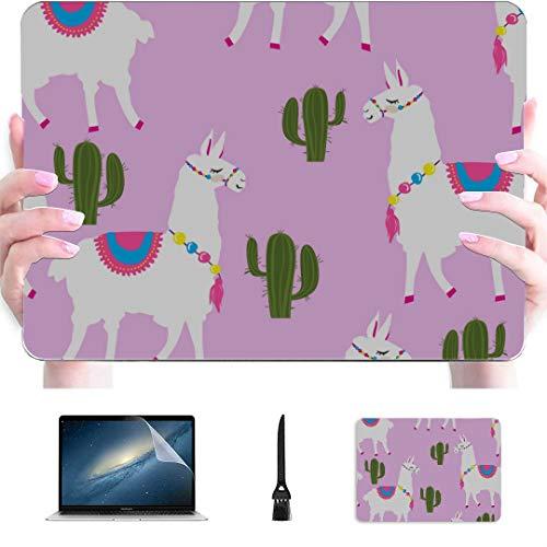 13inch Macbook Air Case Cute Llama Cactus Pink Plastic Hard Shell Compatible Mac Air 13' Pro 13'/16' Cover Macbook Air 13 Protective Cover For Macbook 2016-2020 Version