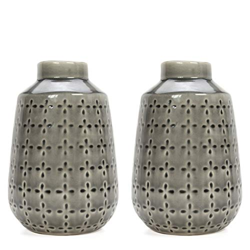 """Hosley Set of 2 Grey Ceramic Vase 7.25"""" High. Ideal Gift for Home Weddings Party Spa Meditation Home Office"""