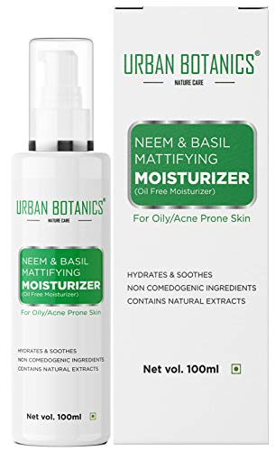 UrbanBotanics® Neem & Basil Mattifying Moisturizer - Oil Free Moisturizer For Face...