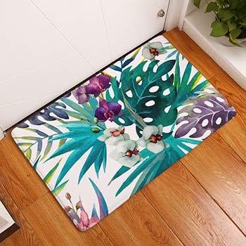 OPLJ Tropical Plant Strauß Print Teppiche rutschfeste Küchenteppiche für Wohnzimmer Bodenmatte Teppich Waschbare Bodenmatte A8 40x60cm
