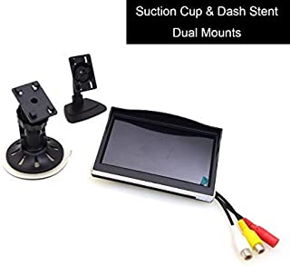 5 Car Monitor, EKYLIN 12-24V Wide Input Truck/in-Car TFT LCD Screen Suction Cup & Dash Stand Dual Mounting Bracket 2 RCA Channel for Backup Camera/Rear View/DVD/Media Player