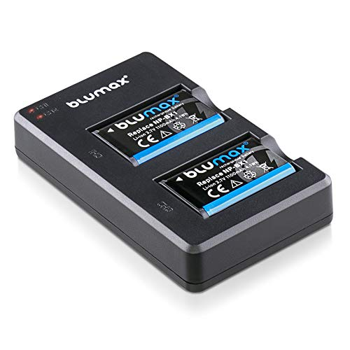 Blumax 2X Akku 1100mAh ersetzt Sony NP-BX1 + Slim Dual-Ladegerät USB - kompatibel mit Sony Cyber-Shot DSC-RX100, DSC-RX100 II, DSC-RX100M II, DSC-RX100 III, DSC-RX100 V, DSC-RX100 IV, HDR-CX405 UVM.