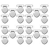 Milisten 20 Stück Schnuller-Hosenträger-Clips zur Herstellung von Schnullerhaltern Lätzchen-Clips Baby Zahnspielzeug Decken Clips Herzförmige Silber