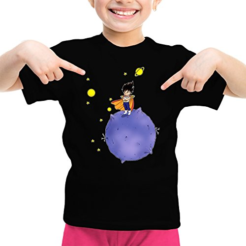 Okiwoki T-Shirt Enfant Fille Noir Dragon Ball Z - DBZ parodique Végéta : Le Petit Prince Saiyan (Parodie Dragon Ball Z - DBZ)