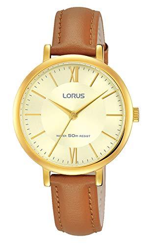 Lorus Damen Analog Klassisch Quarz Uhr mit Leder Armband RG266MX9