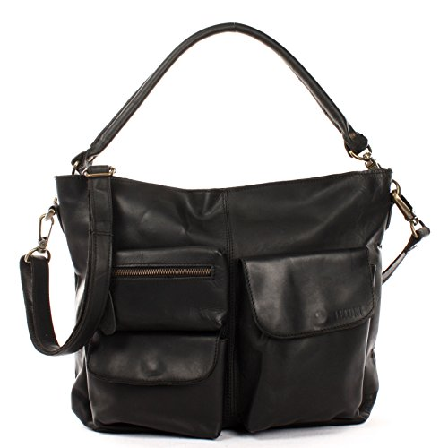 LECONI Schultertasche Ledertasche für Damen Vintage-Look echtes Leder Natur großer Shopper Lederhandtasche für DIN A4 Damentasche Frauen Handtasche 41x32x10cm schwarz LE0039-wax