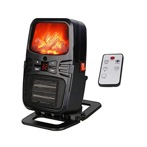 BAIYI Mini 3D Fiamma Analogico Riscaldatore Elettrico in Desktop Riscaldatore Veloce Portatile Caldo Aria Condizionata Ventilatore con Telecomando