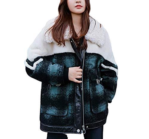 NANXCYR Dames Bont Stitching Down Jacket Dikke Tweed Jas Warm Bovenkleding Dames Overjas Winter Herfst Lente