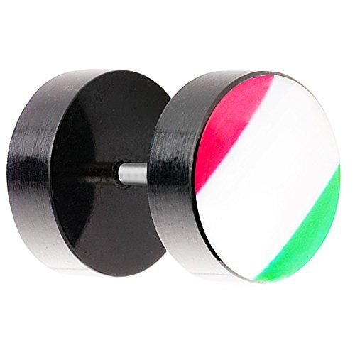 Piersando Ohrstecker Ohrringe Piercing Fake Ohr Plug Flesh Tunnel Fahne Motiv Fussball EM & WM Fanartikel Land Flagge Schmuck Italien 8mm