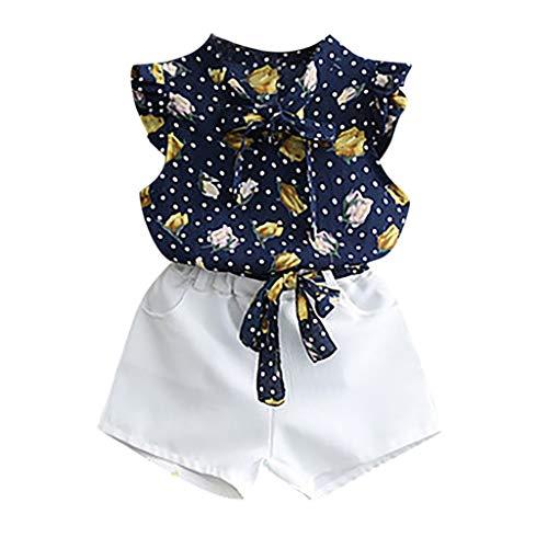 KEERADS KIDS été Printemps Débardeur bébé Fille sans Manches à imprimé Floral avec Pois et Tenues de Ville 0 1 2 3 4 5 6 7 9 Ans Les magasins Ont