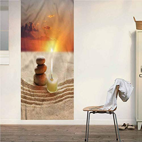 Poppy Ramsden Spa ONE Piece Door Stickers Wall Murals,Little Candle with Stones Beach Peel and Stick Vinyl Door Mural Decals for Door/Wall/Fridge,32x95 Inch