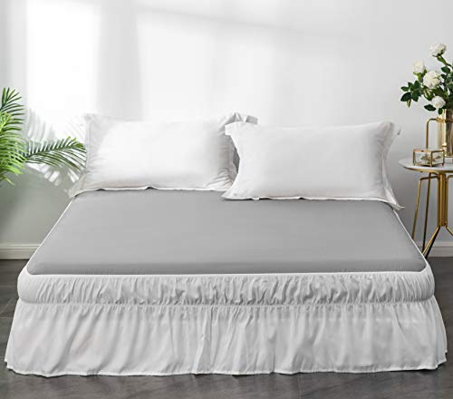 AYASW Bed Skirt 12-14 Inch Drop Dust Ruffle Three Fabric Sides Wrap Around with Elastic No Top Easy On Queen Size White