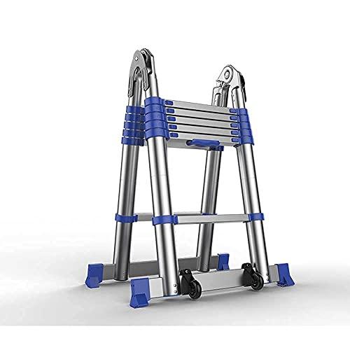 Escaleras Plegables Escalera telescópica telescópica de Aluminio, Escalera telescópica Multiusos, Ruedas y...