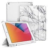 Fintie Funda para iPad 10,2' 2020/2019 con Soporte Integrado para Pencil - Trasera Transparente Carcasa Ligera Función de Auto-Reposo/Activación para iPad 8/7.ª Generación, Mármol