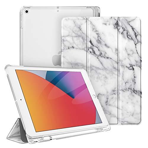 Fintie Hülle für iPad 8. Generation (2020) / 7. Gen (2019) 10.2 Zoll mit Pencil Halter, Superdünn Leichte Schutzhülle mit durchsichtiger Rückseite Abdeckung mit Auto Schlaf/Weck, Marmor Weiß