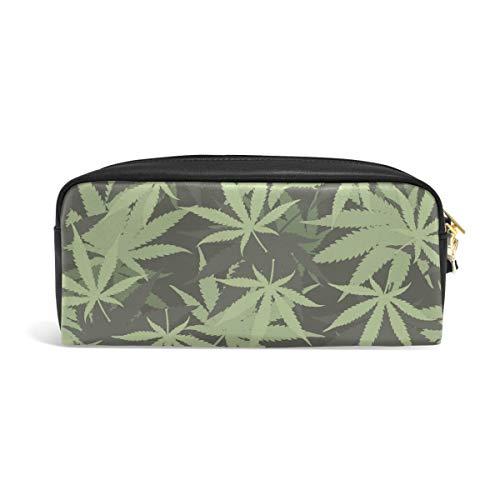 Hunihuni - Estuche para lápices Marihuana de gran capacidad, resistente piel sintética, con cremallera, para niños y niñas
