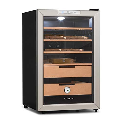 Klarstein EL Presidente 65 - Humidor, Zigarren-Aufbewahrung, Volumen 65 Liter, 1.000-6.500 Zigarren, 70 Watt, Buchenholz, Temperatur: 12-23°C, Energieeffizienzklasse: C, LED, Touch, schwarz