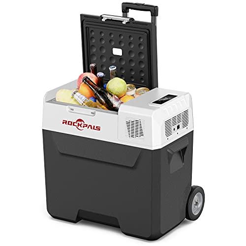 Rockpals 12 Volt Refrigerator, 50 Quart (47L) Portable Freezer, Electric Cooler Fast Cooling-4℉~68℉ with Handle & Wheels, 12/24V DC, 100/240V AC, Solar Charge for Car Truck Rvs Boats Campsites Home