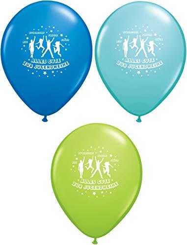 RS 6 Qualatex Luftballons Alles Gute zur Jugendweihe, blau grün türkis, ca. 28/30 cm Durchmesser in Papiertüte