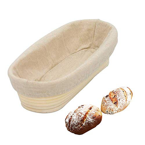 AWYGHJ 10' Oval Bread Proving Basket, Hand-Woven Bread Banneton Proofing Basket with Cloth Liner, Fits Sourdough Baking Bread, for Professional and Home Baking