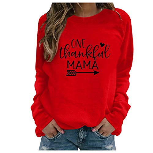 WMNU Winter Womens Hoodie Thanksgiving Print Long-sleeved Sweatshirt Casual Blouse Pullover O-Neck Loose Sports Pullovers Red