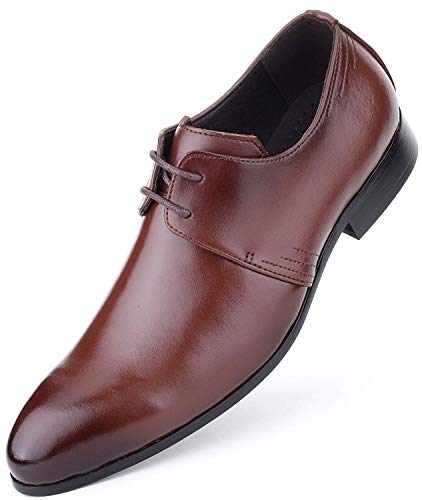 Mens Oxford Shoes Formal Leather Mens Dress Shoes - Men Wedding Shoes in A Bag - Burnt Sienna