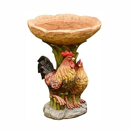 YiShuHua Bird Bath Garden Ornament, Albero Antico Giardino Ornamento, Adatto per Decorare i bagni di Fiori e Uccelli all'aperto nei Giardini e nei Cortili Gallo (Dimensione : 14 * 14 * 22CM)