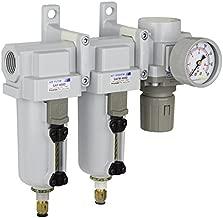 PneumaticPlus SAU430-N06DG-MEP Three Stage Air Drying System Particulate Air Filter, Coalescing Filter, Air Pressure Regulator Combo 3/4