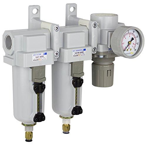 PneumaticPlus SAU430-N06DG-MEP Three Stage Air Drying System Particulate Air Filter, Coalescing Filter, Air Pressure Regulator Combo 3/4' NPT - Metal Bowl, Auto Drain, Bracket, Gauge